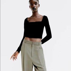 Zara Long Sleeve Square Neck Top